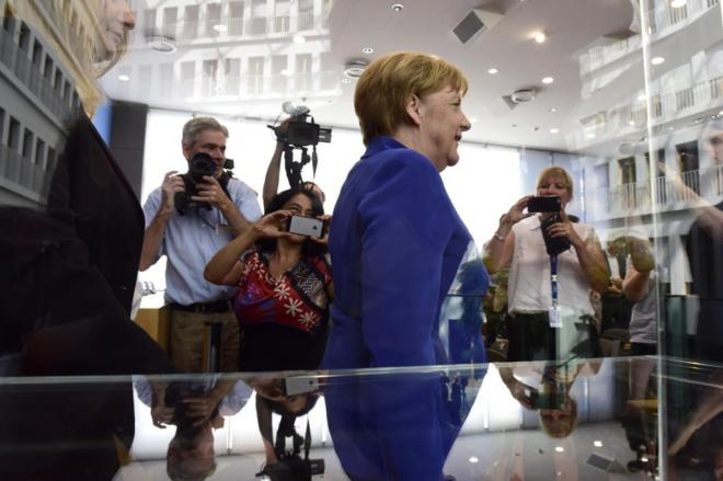 La canciller alemana Angela Merkel, tras la rueda de prensa en...