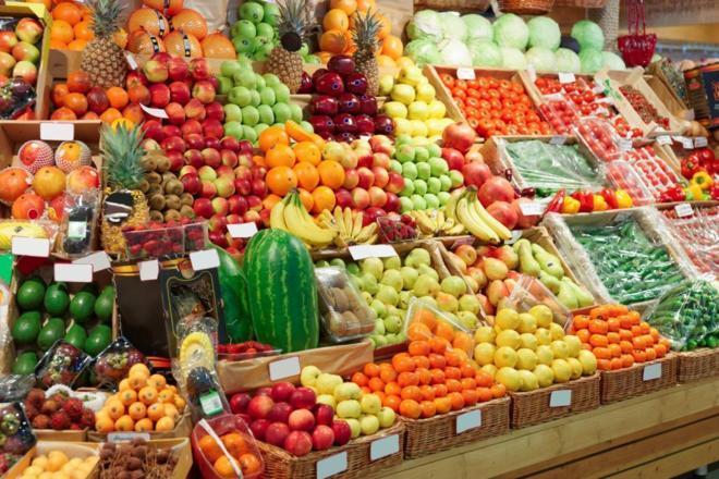 Mercado de frutas y verduras.