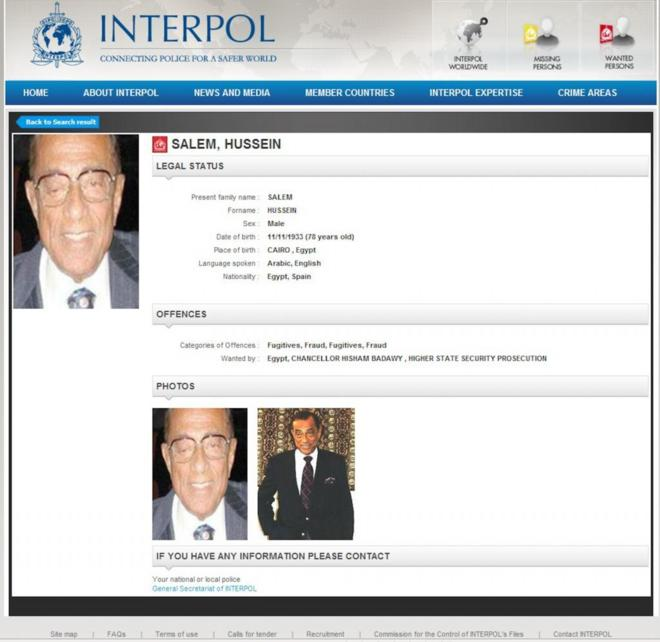 La ficha de Interpol sobre Hussein Salem.