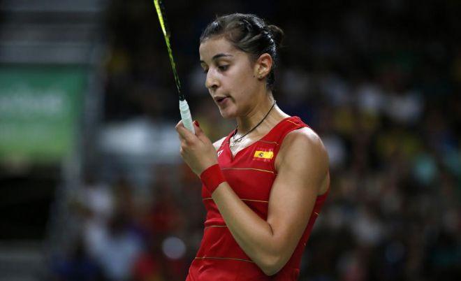 Carolina Marín, durante su partido de semifinales.