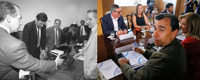 A la izquierda, Rato y Rajoy, en 1996, con el líder canario José...