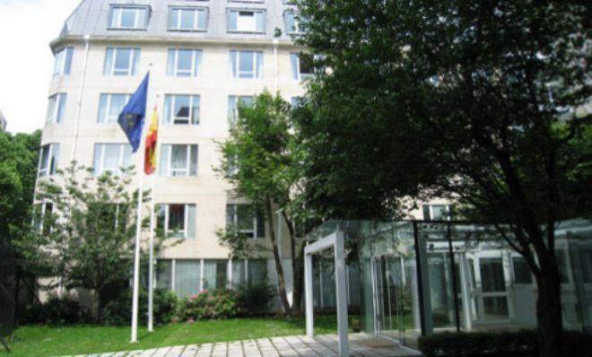 Uno de los edificios que albergan a la legación diplomática...