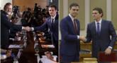 Mariano Rajoy y Albert Rivera hoy; y el líder de Ciudadanos y Pedro...