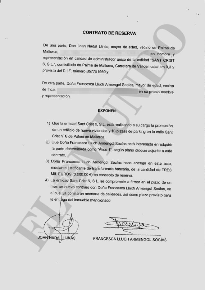 El documento que ocultó la presidenta balear.