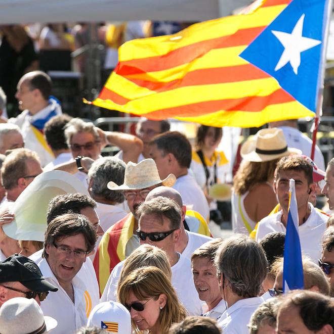 Carles Puigdemont, presidente de la Generalitat, ayer, en un momento...