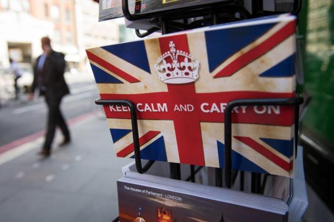 "Postcards featuring the World War II British slogan ""Keep Calm and..."