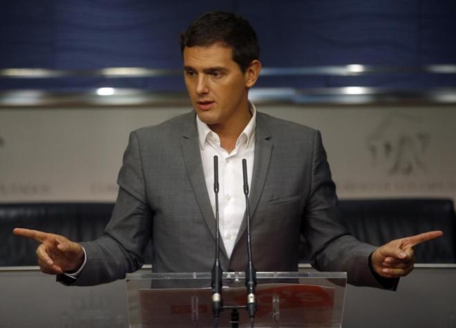 El lider de Ciudadanos, Albert Rivera, durante su rueda de prensa.
