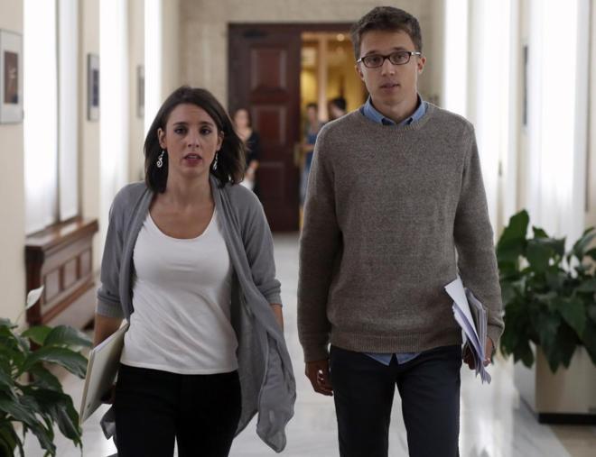 Irene Montero e Íñigo Errejón, el jueves, en el Cognreso de los...