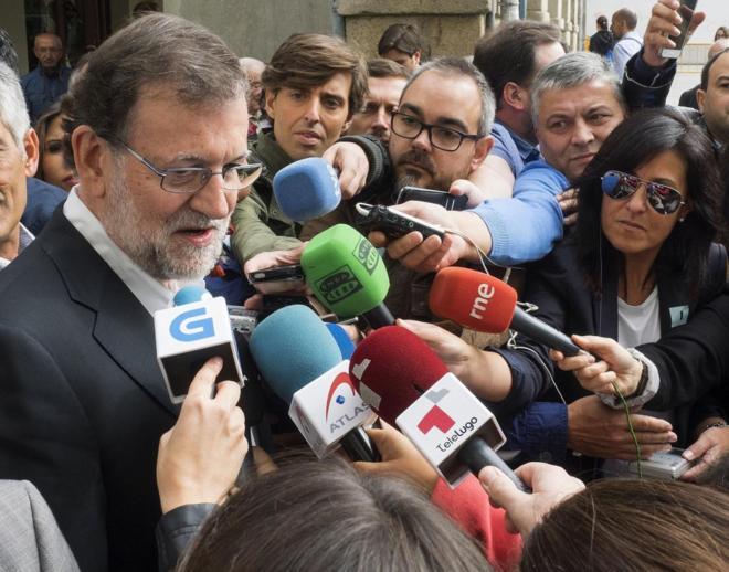 Mariano Rajoy, durante un acto electoral en Lugo.