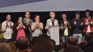 Pili Zabala, candidata de Elkarrekin Podemos, comparece tras los...