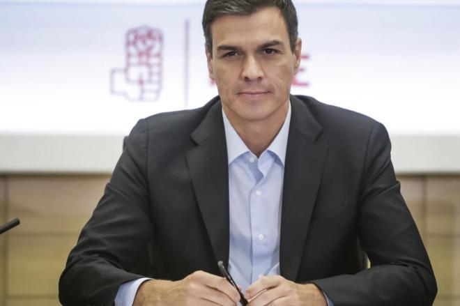 Pedro Sánchez, esta mañana en la reunión de la Ejecutiva del PSOE.