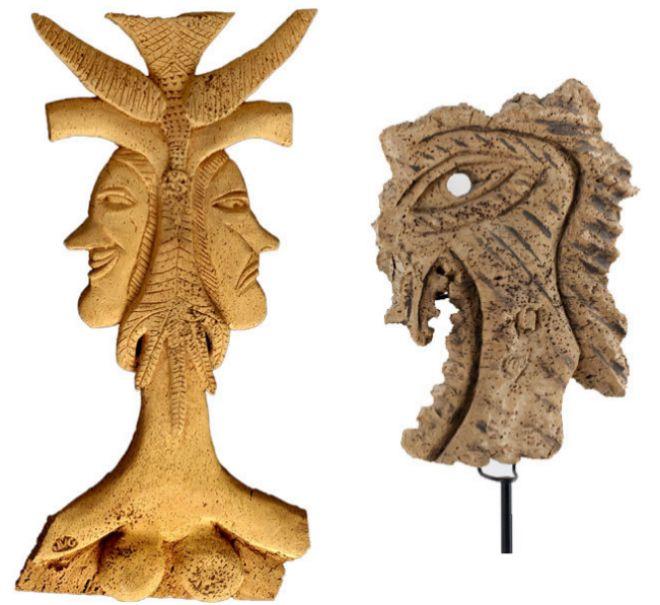 Esculturas de Joaquim Vicens Gironella: 'Cara doble' y 'Petit Demon'.