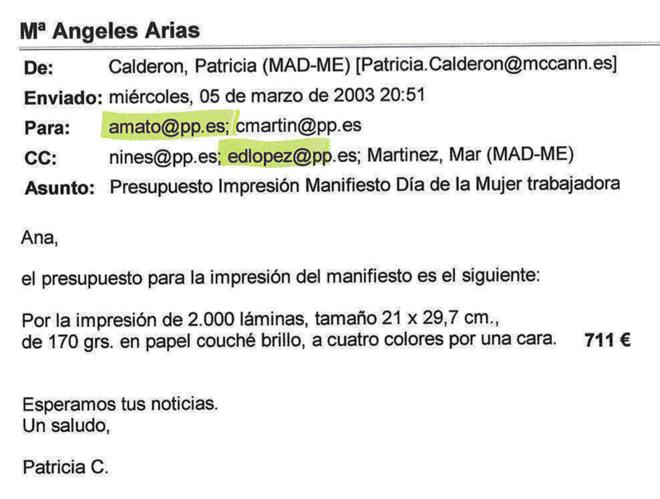 Uno de los correos aportados por Luis Bárcenas para acreditar que Ana Mato supervisaba los gastos de campaña.