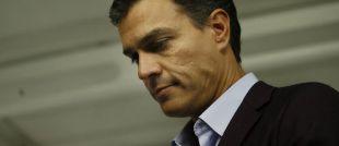 Pedro Sánchez, el sábado, al anunciar su dimisión tras perder la...
