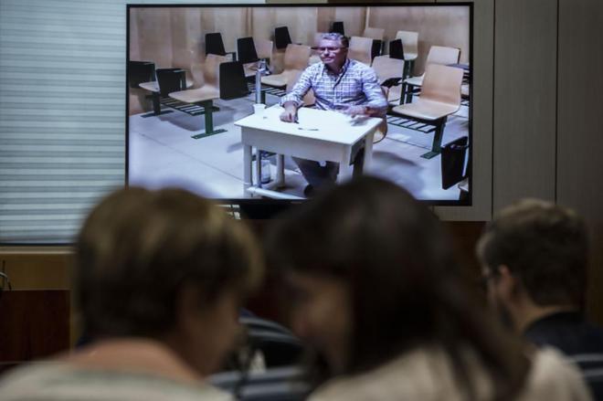 Francisco Granados, declarando por videoconferencia desde la cárcel...