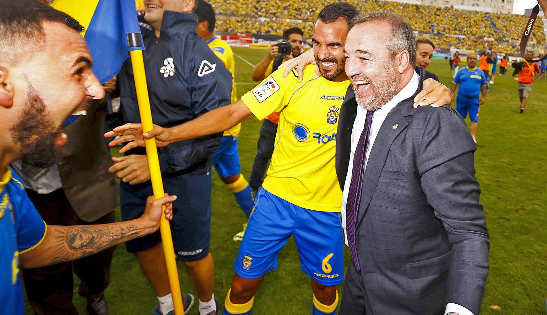 El presidente de la Unión Deportiva Las Palmas, Miguel Ángel Ramírez, a la derecha, autor de la grabación que la Guardia Civil considera manipulada.