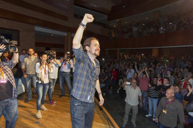 Pablo Iglesias, durante el acto de Podemos celebrado en Mérida.