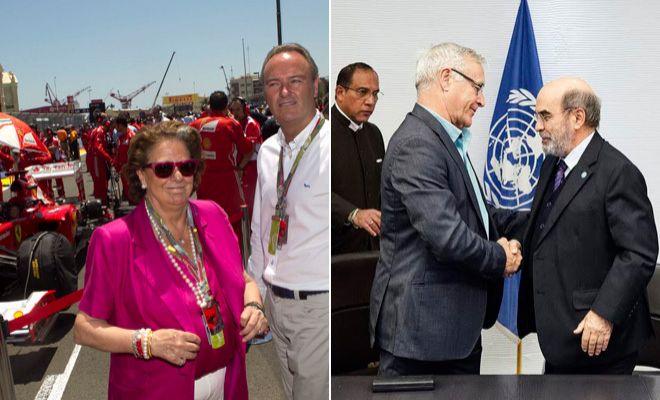 Rita Barberá y Alberto Fabra durante una prueba de la F1 en Valencia y Ribó ratifica el acuerdo con la FAO