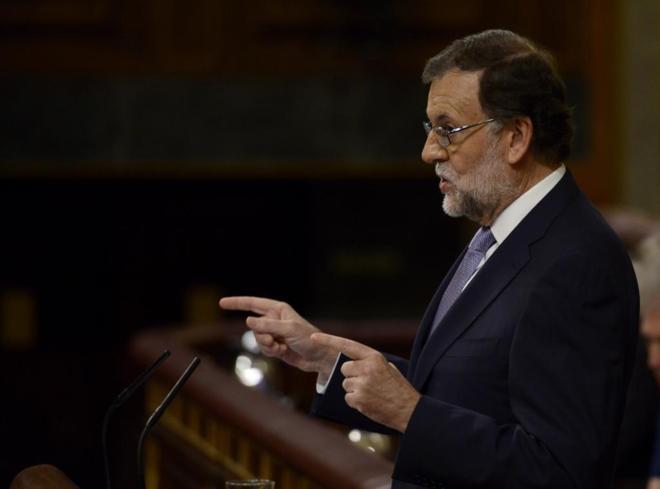 Mariano Rajoy en el segundo día del debate de investidura del pasado...