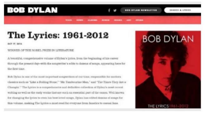 ¿Ha reconocido Bob Dylan el Premio Nobel a través de su página web?