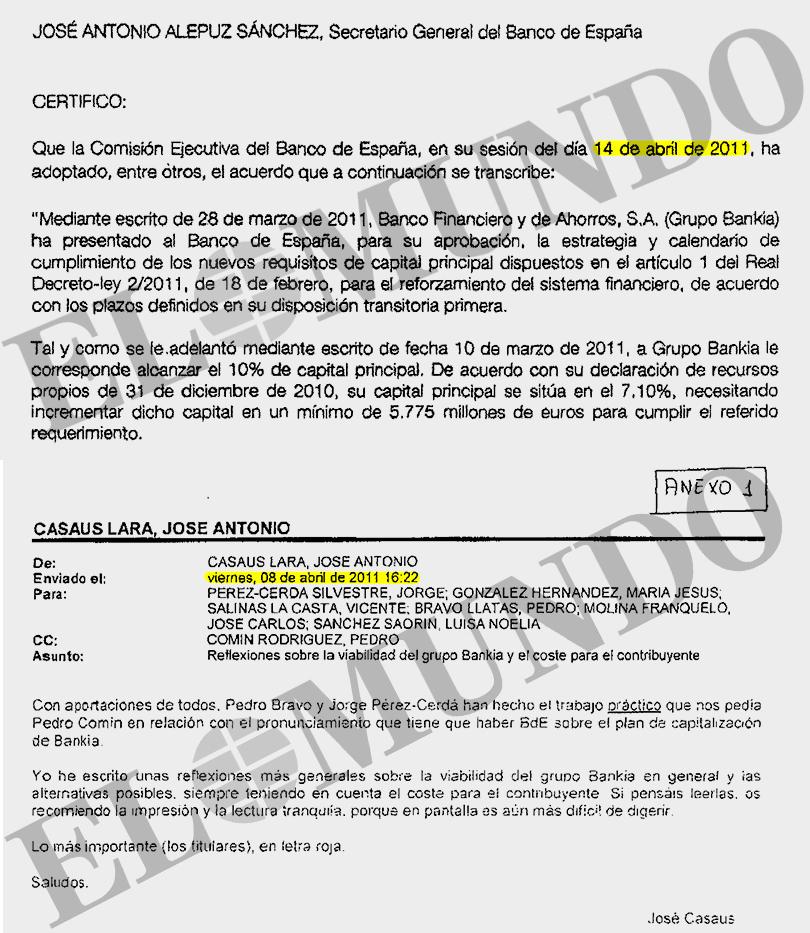 Extracto de lo que alertó el inspector el  8 de abril y el acuerdo de la Comisión Ejecutiva del Banco de España ignorando el aviso