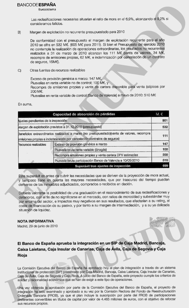 Informe interno del 22 de junio de 2010 y la aprobación de la fusión el 29 de junio de ese año.