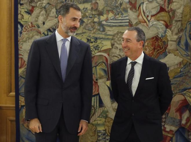 El Rey Felipe VI recibe al portavoz de Compromís, Joan Baldoví, hoy en Zarzuela.