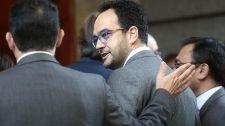 Antonio Hernando, esta mañana en el Congreso de los Diputados.
