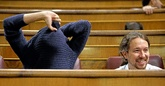Pablo Iglesias, en su escaño del Congreso de los Diputados.