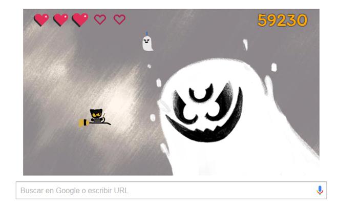 celebra halloween pintando con el doodle de google tecnología