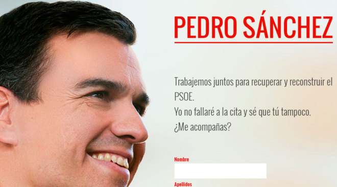 Portada de la página web del ex secretario general del PSOE Pedro...