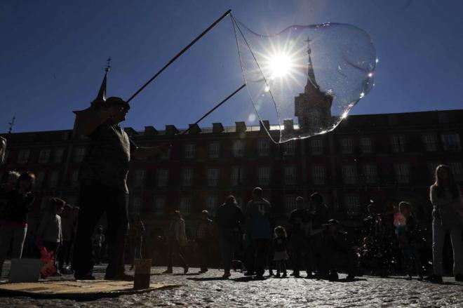 Plaza Mayor de Madrid durante este lunes