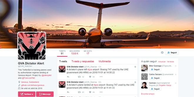 Imagen de la cuenta de Twitter que publica la presencia de aviones de dictadores en Ginebra.