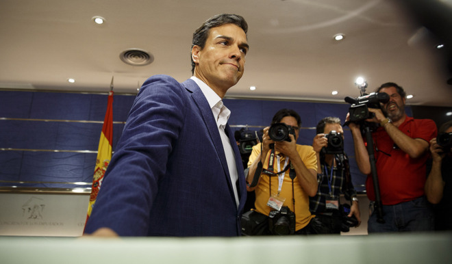 El ex secretario general del PSOE Pedro Sánchez, el sábado durante...