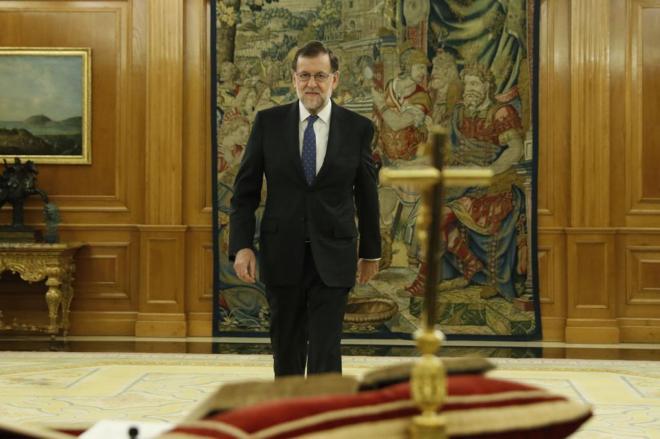 Mariano Rajoy poco antes de jurar el cargo ante el Rey, el pasado lunes.