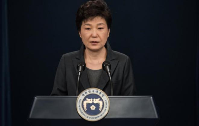 La presidenta de Corea del Sur, Park Geun Hye, durante su...