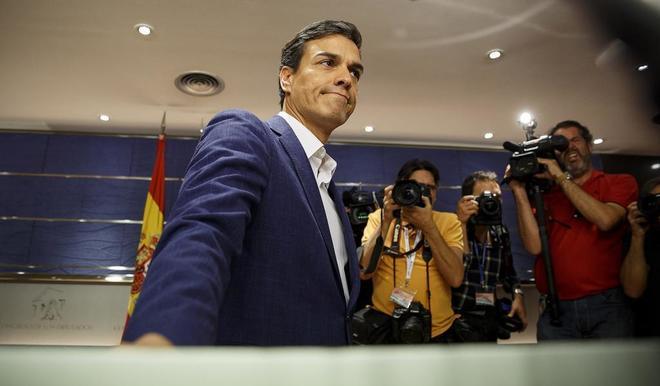Pedro Sánchez, hace una semana, cuando presentó su renuncia como...