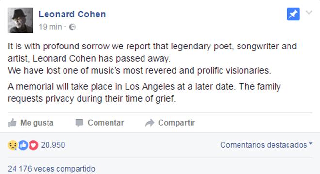 El último acto de Leonard Cohen