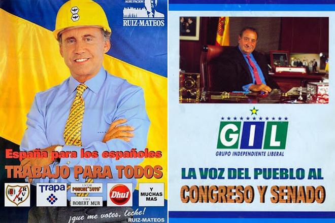 Carteles electorales de José María Ruiz-Mateos y Jesús Gil.
