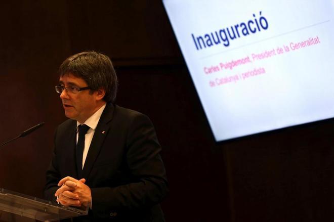 Carles Puigdemont, en el VI Congreso de Periodistas de Cataluña,...