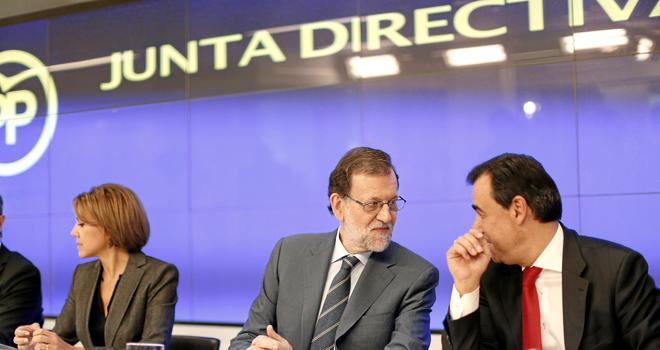 Cospedal, Rajoy y Maillo en la reunión de la Junta Directiva del PP.