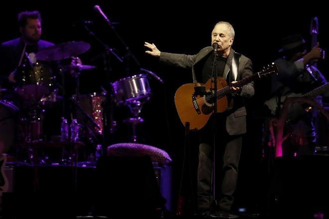 El músico estadounidense Paul Simon, este viernes en el Palacio de los Deportes de Madrid.