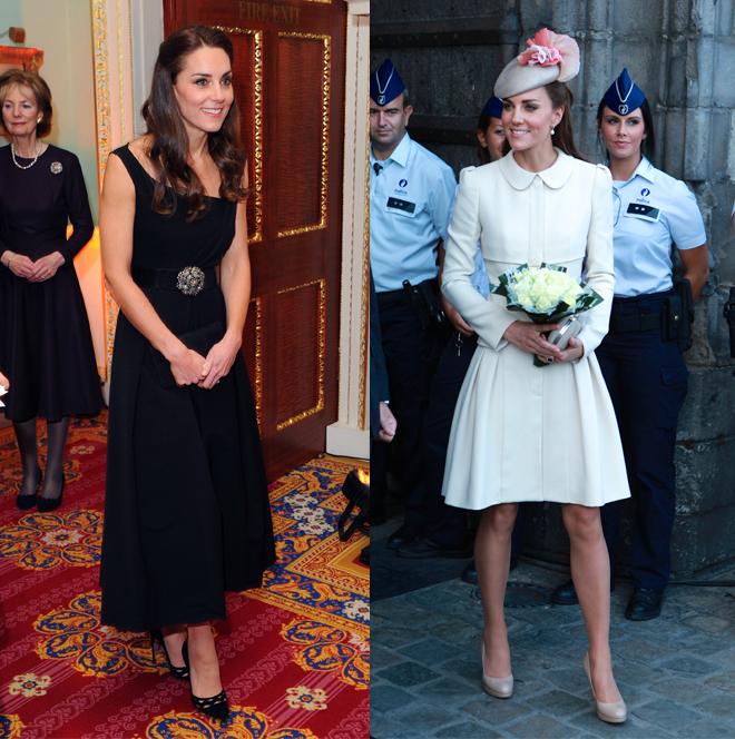 La duquesa de Cambridge Kate Middleton en dos eventos.
