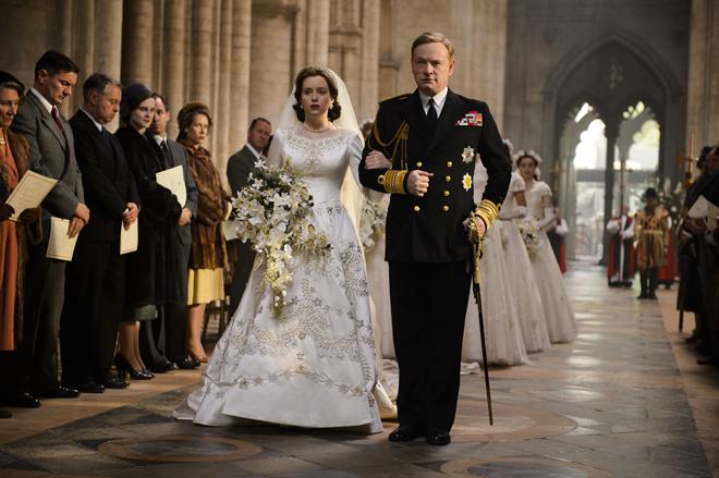 La boda de la reina Isabel en 'The Crown'.