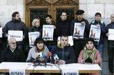 Los alcaldes de la Sakana durante la rueda de prensa que han ofrecido...