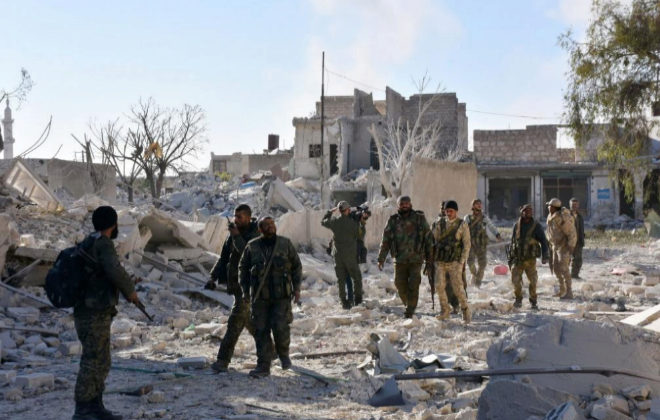 Fuerzas del ejército sirio en el distrito de Masaken Hanano,...