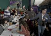 Militantes de Podemos celebran el Día de Navarra, hoy en Alsasua.