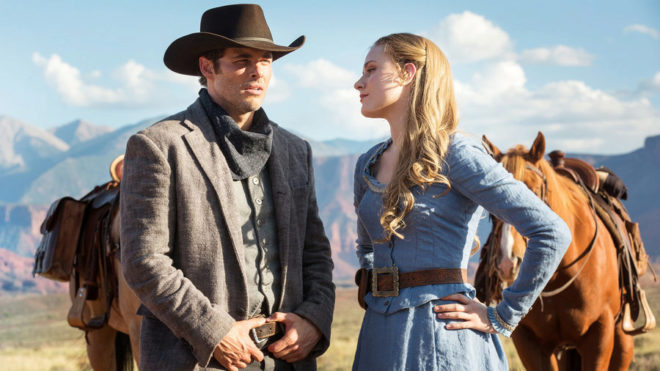 James Marsden y Evan Rachel Wood, en la serie 'Westworld'.