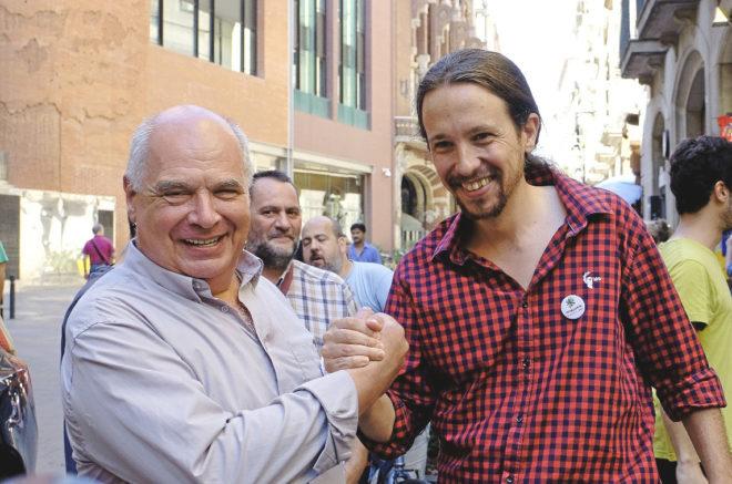 Lluís Rabell, con Pablo Iglesias.