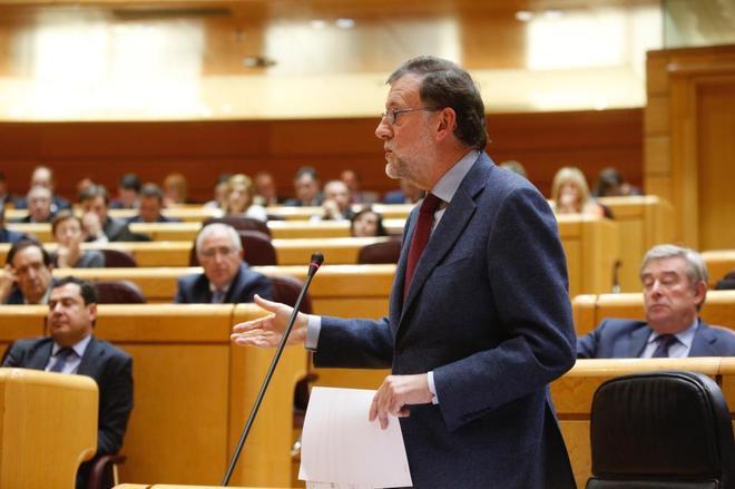 Mariano Rajoy, durante la sesión de control en el Senado.